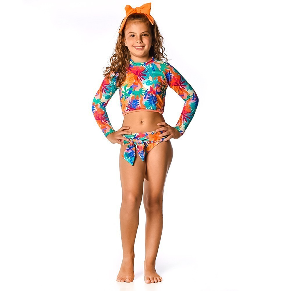 Biquíni Cropped Infantil Tropical Neon UV 50+ Everly