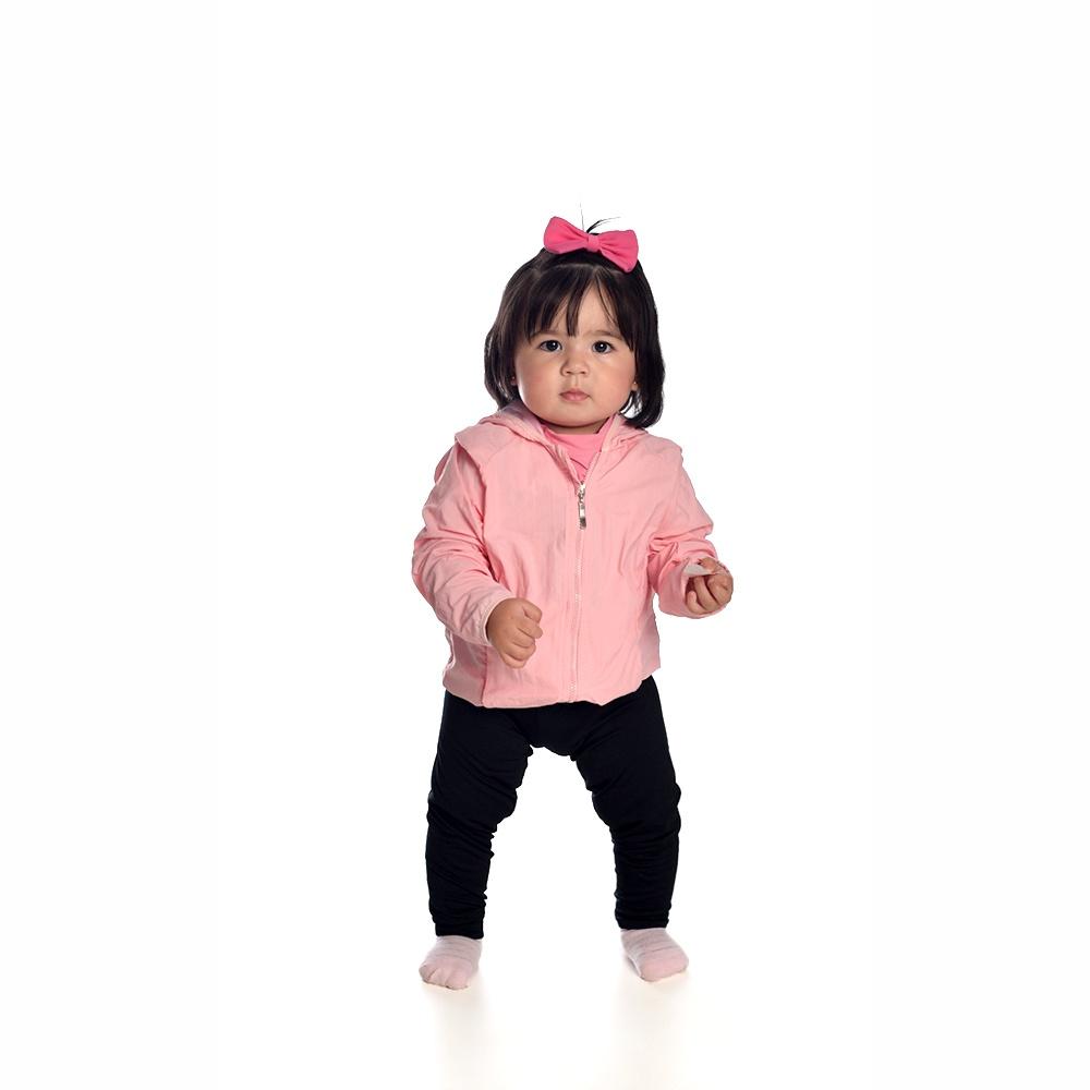 Jaqueta Corta Vento Bebê Rosa Everly