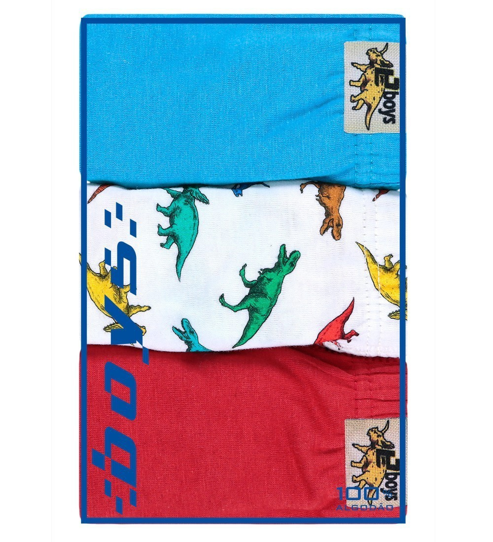 Kit Cueca Infantil Dino Everly- 03 unidades