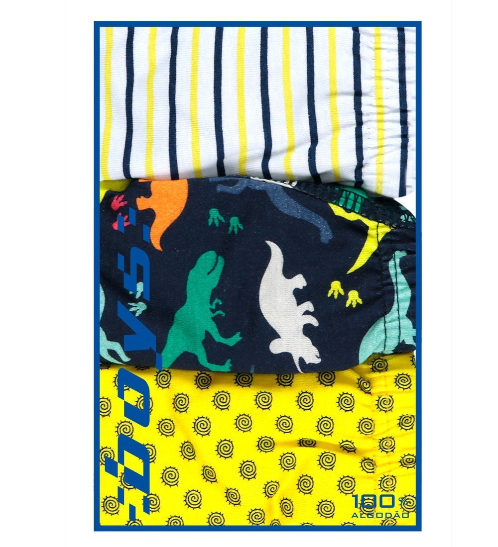 Kit Cueca Infantil Dinossauros Everly- 03 unidades