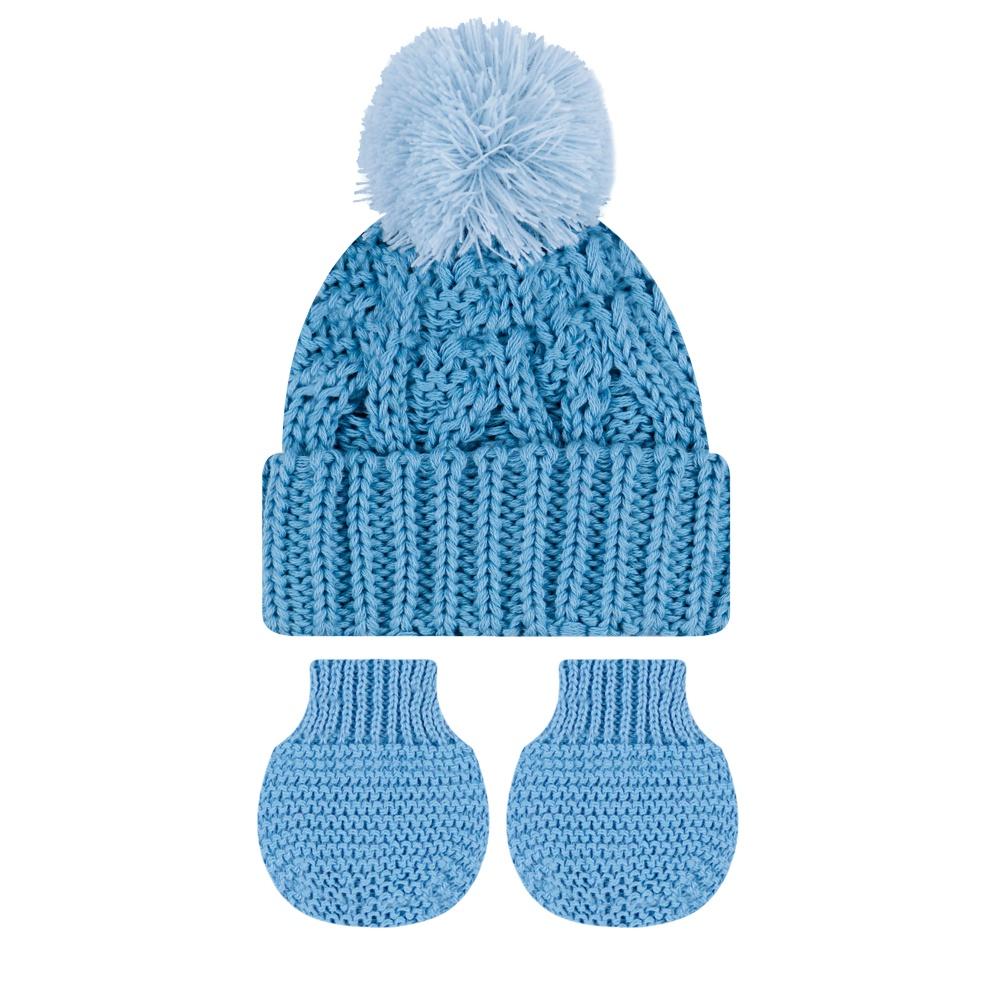 Kit Touca e Luva Prematuro Azul Everly- 2 peças