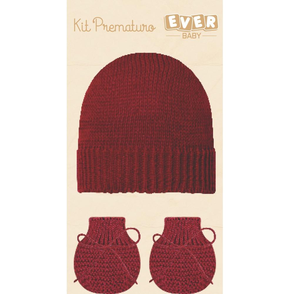 Kit Touca e Luva Prematuro Vermelho Everly- 2 peças