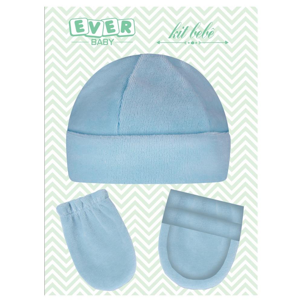 Kit Touca, Sapatinho e Luva Plush Recém Nascido Azul Everly- 3 peças