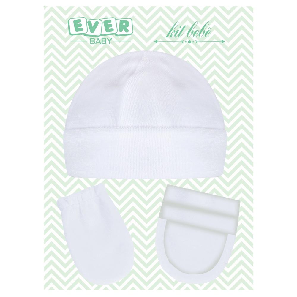 Kit Touca, Sapatinho e Luva Plush Recém Nascido Branco Everly- 3 peças