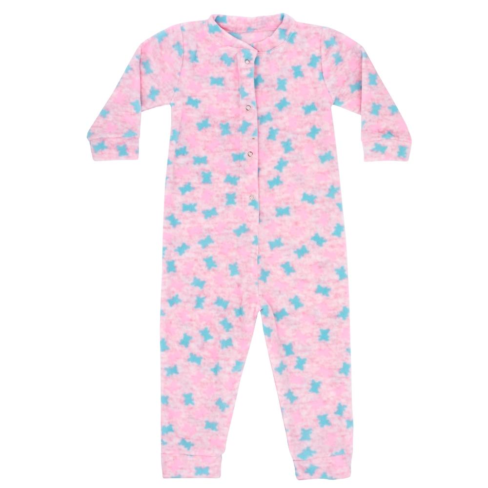 Macacão Pijama Bebê Soft Borboletas Rosa Everly