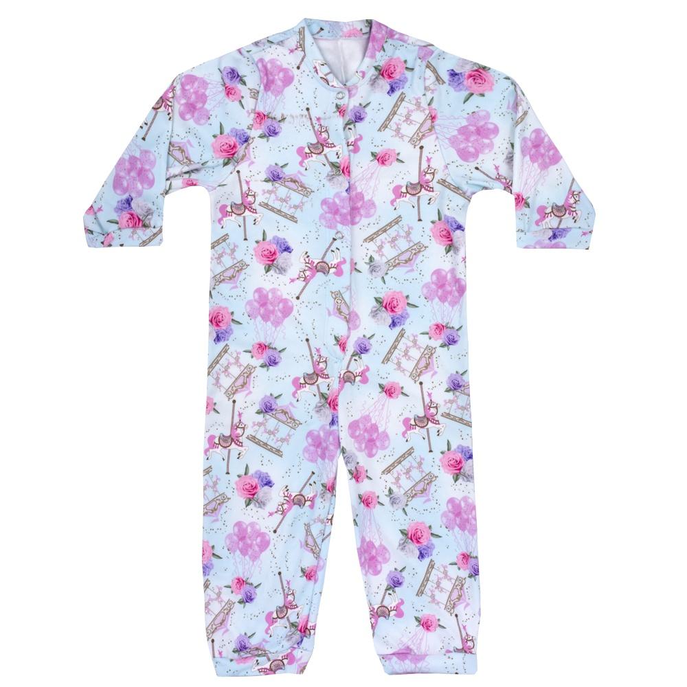 Macacão Pijama Infantil Moletinho Carrossel Azul Everly