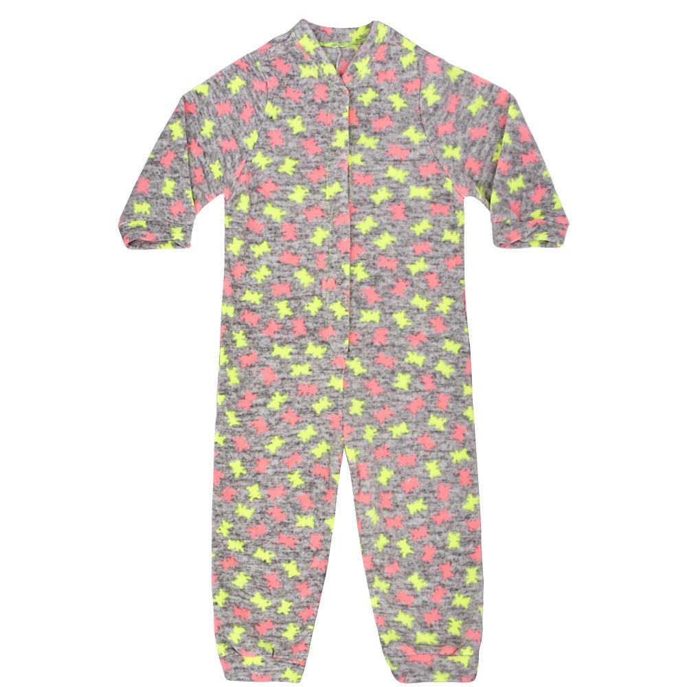 Macacão Pijama Infantil Soft Estrelas Cinza Everly