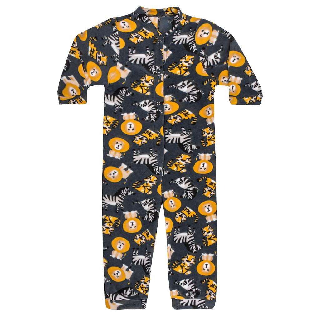 Macacão Pijama Infantil Soft Safari Cinza Everly