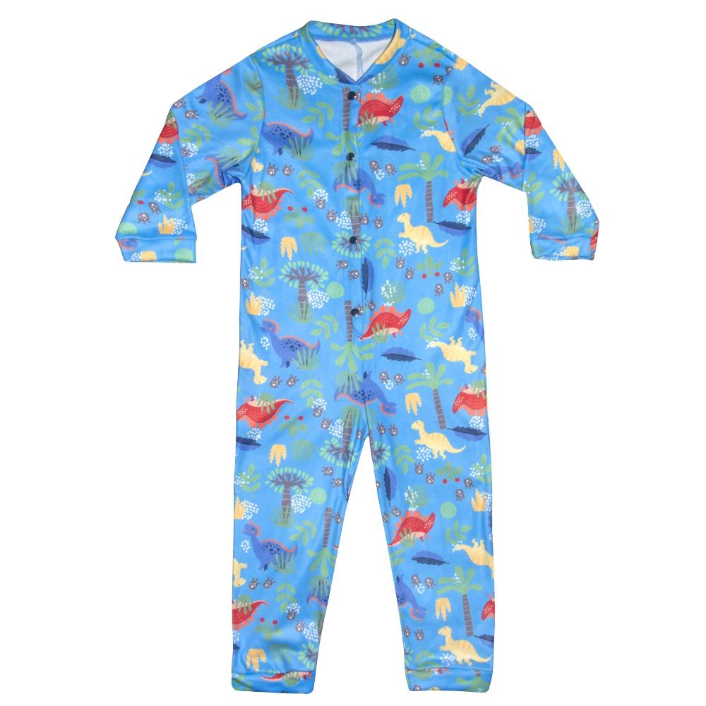 Macacão Pijama Infantil Moletinho Dino Azul Everly