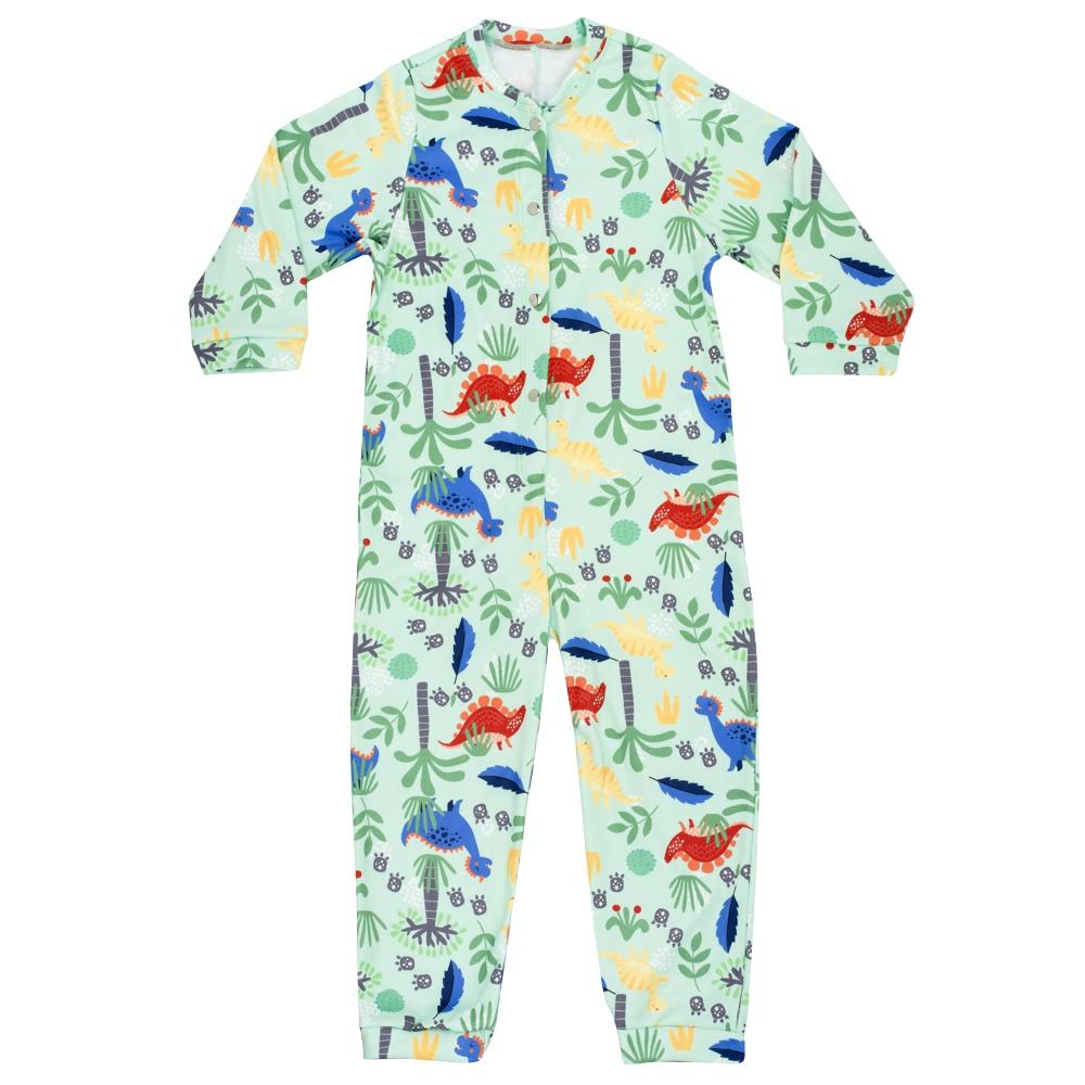 Macacão Pijama Infantil Moletinho Dino Verde Everly