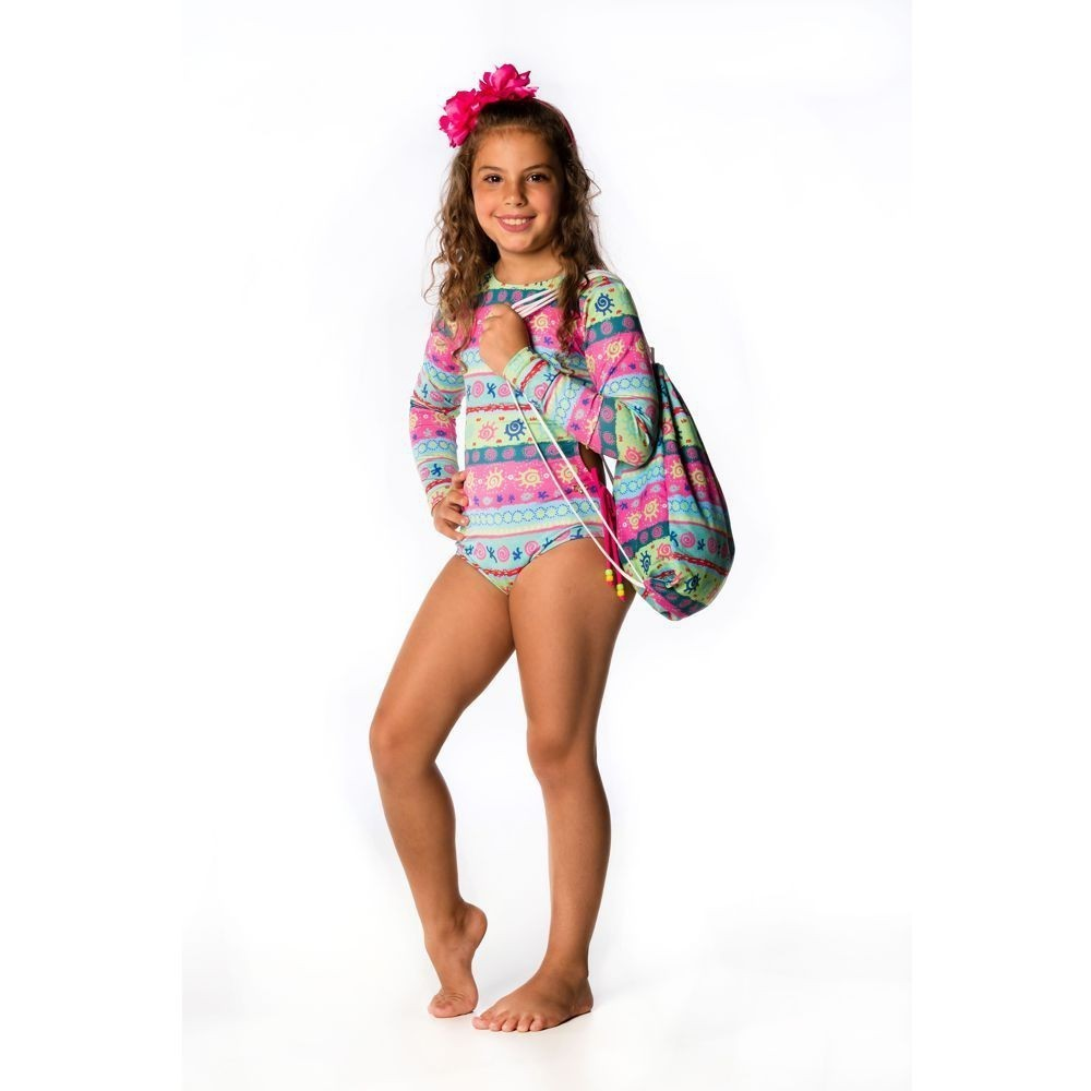 Maiô Infantil M. Longa Étnico UV 50+ Everly