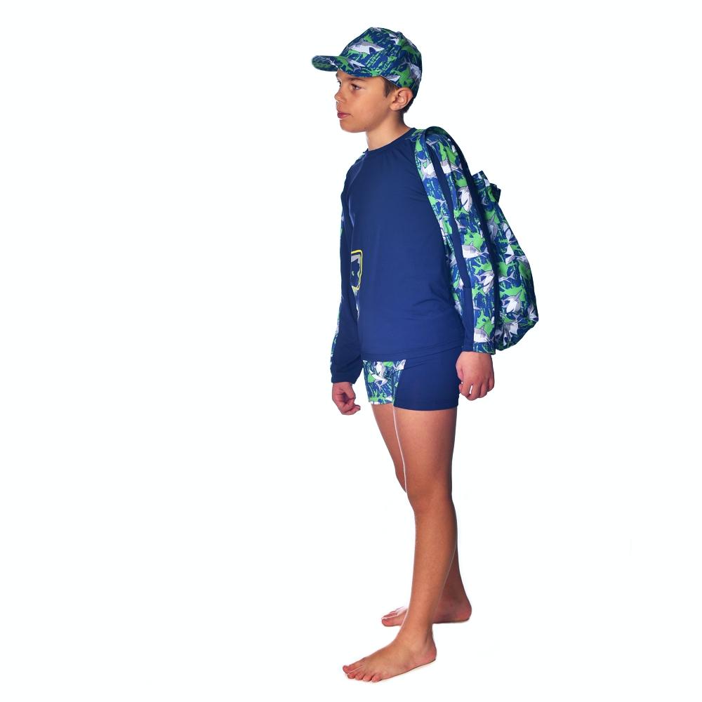 Mochila Toalha Tubarão c/ Proteção UV 50+ Marinho Everly