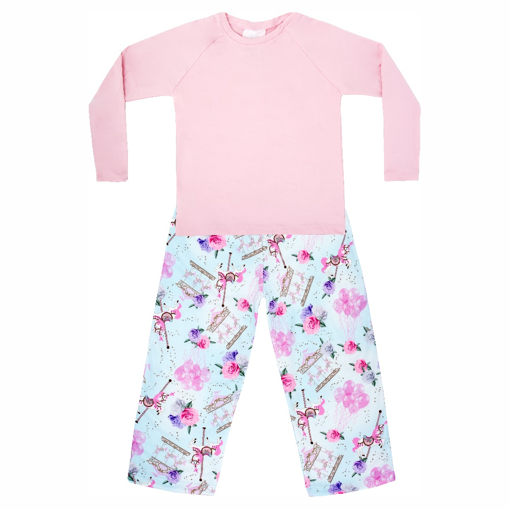 Pijama Bebê Moletinho c/ Tecnologia Thermo Dry Carrossel Azul Everly