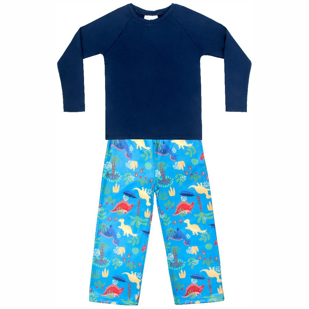 Pijama Infantil Moletinho c/ Tecnologia Thermo Dry Dino Azul Everly