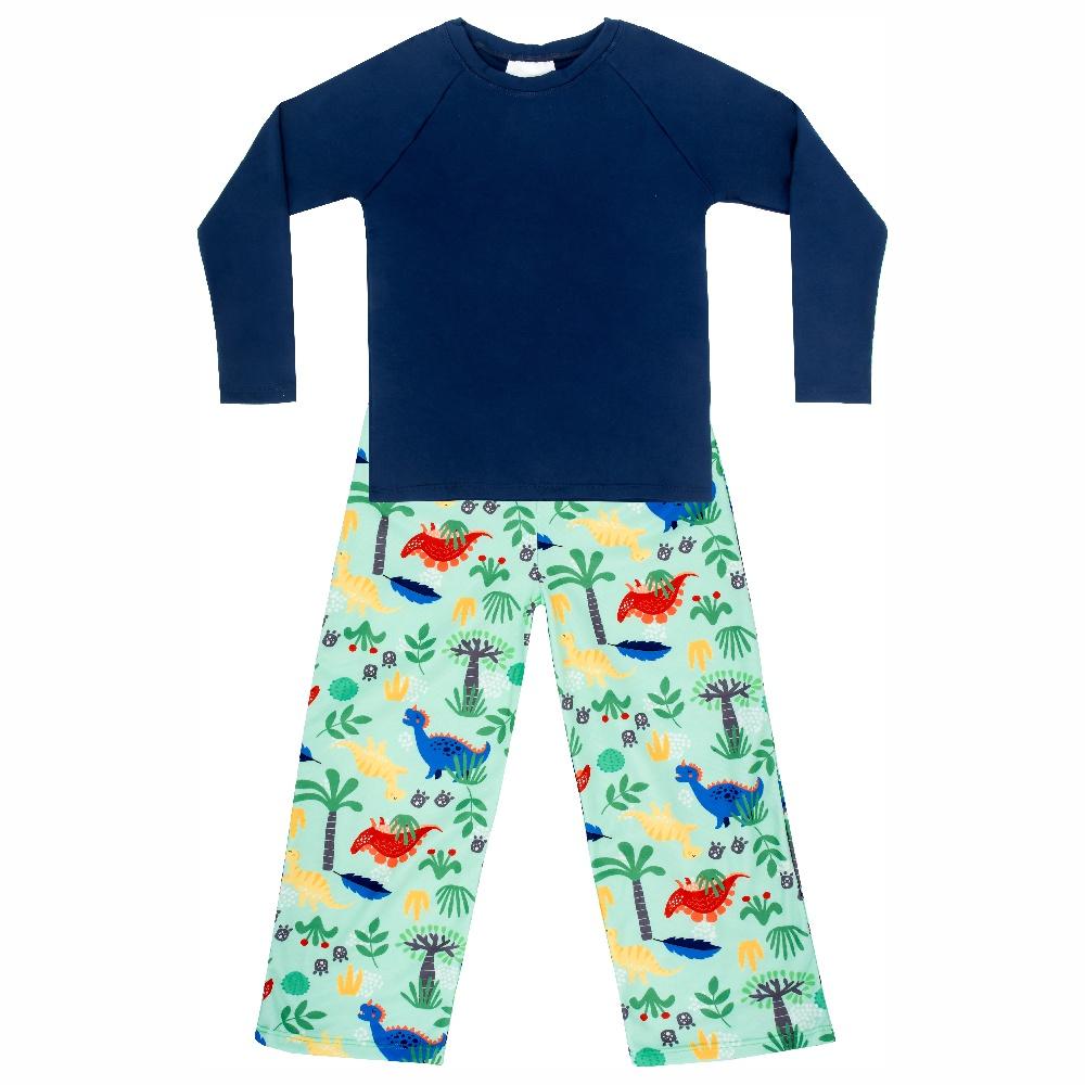 Pijama Infantil Moletinho c/ Tecnologia Thermo Dry Dino Verde Everly