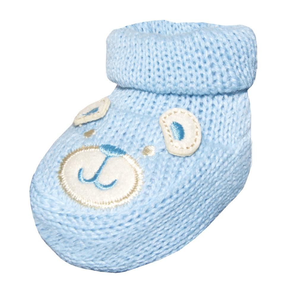 Sapatinho Recém Nascido Tricot Ursinho Azul Everly
