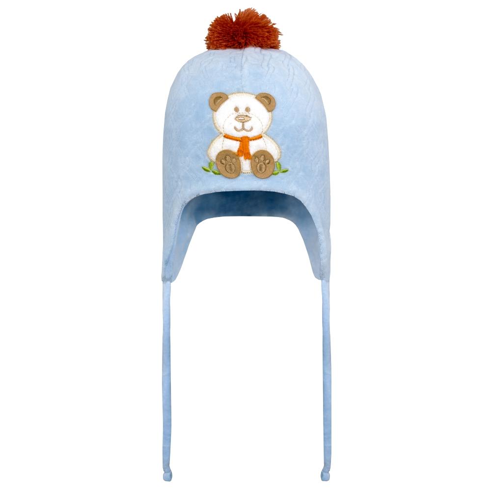 Touca Bebê Plush Ursinho Azul Everly