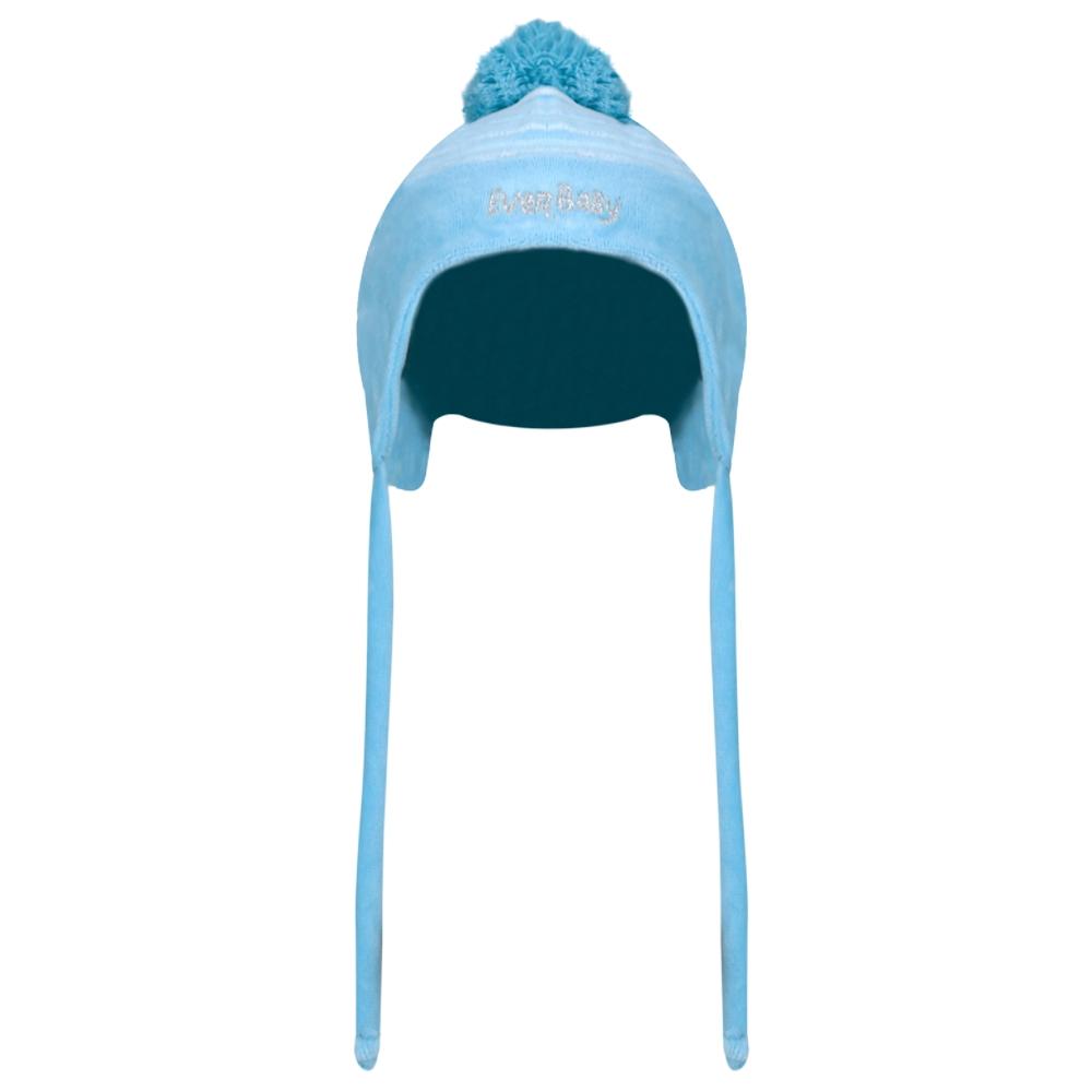 Touca Recém Nascido Listrada Plush Azul Everly