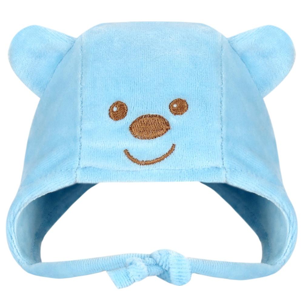Touca Recém Nascido Plush Urso Azul Everly