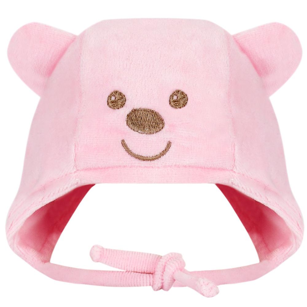 Touca Recém Nascido Plush Urso Rosa Everly