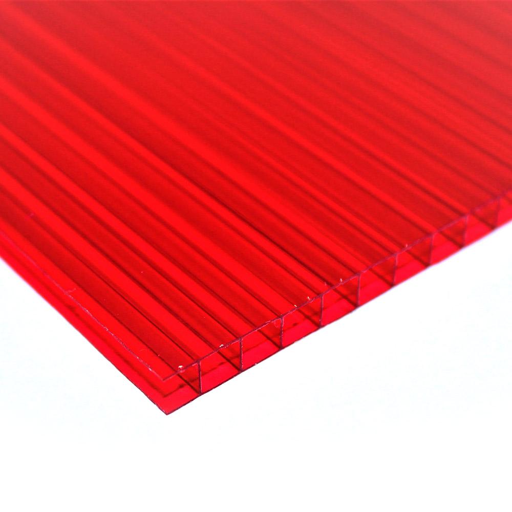 Chapa de Policarbonato Alveolar Vermelho 4mmx1050mmx6000mm