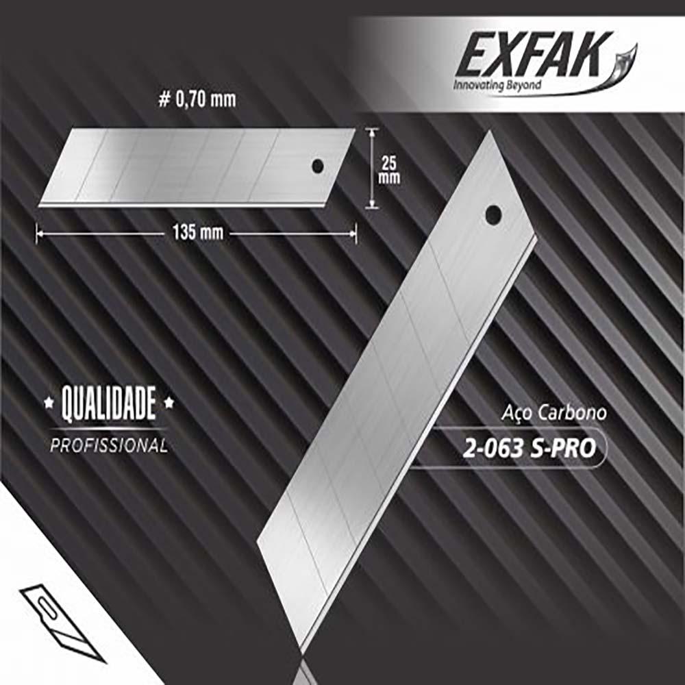 Lâmina para estilete aço carbono 2-063 s-pro -exfak