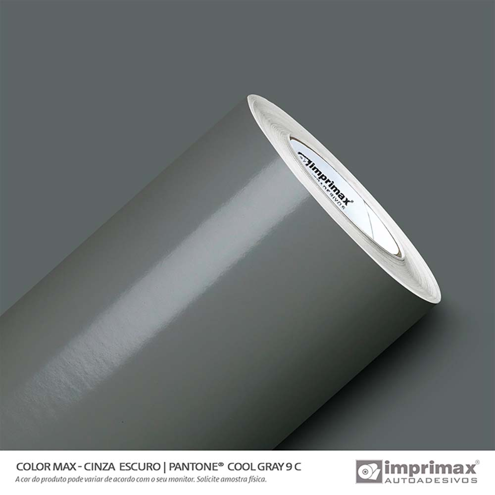 Vinil Auto Adesivo Color Max Cinza Escuro Brilho 1,22x50m