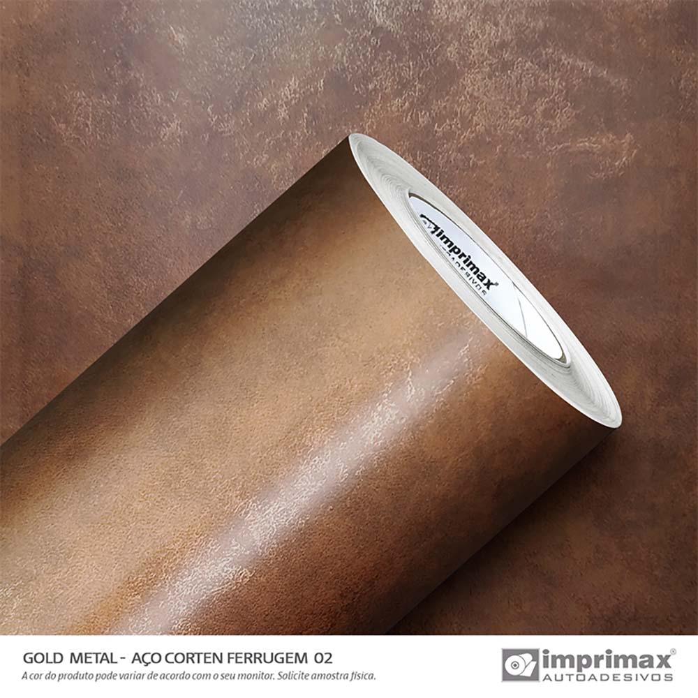 Vinil Auto Adesivo Gold Metal Aço Corten Ferrugem 2 1,22x25m