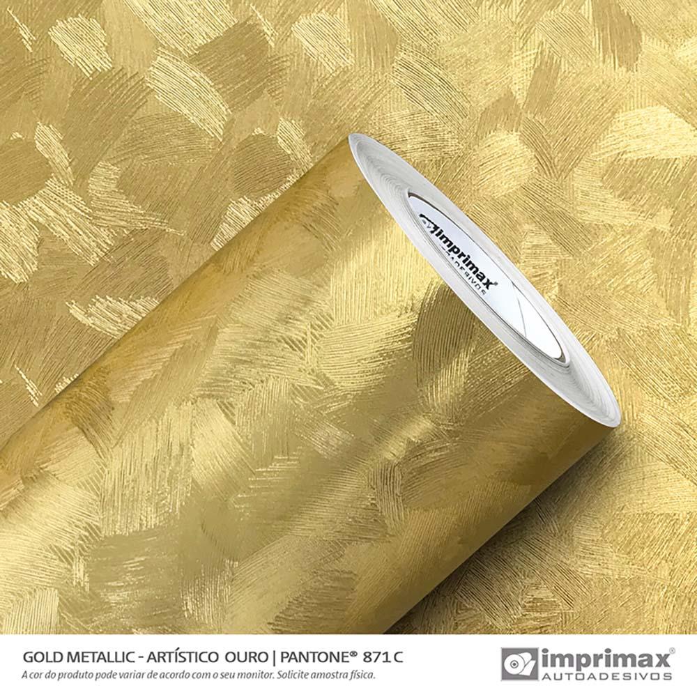 Vinil Auto Adesivo Gold Metallic Artistico Ouro 1,22x25m