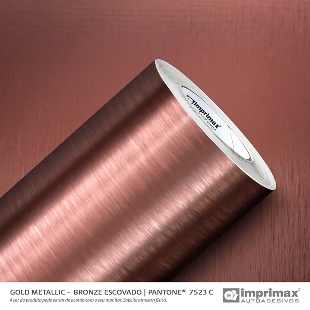 Vinil Auto Adesivo Gold Metallic Escovado Bronze 1,22x25m