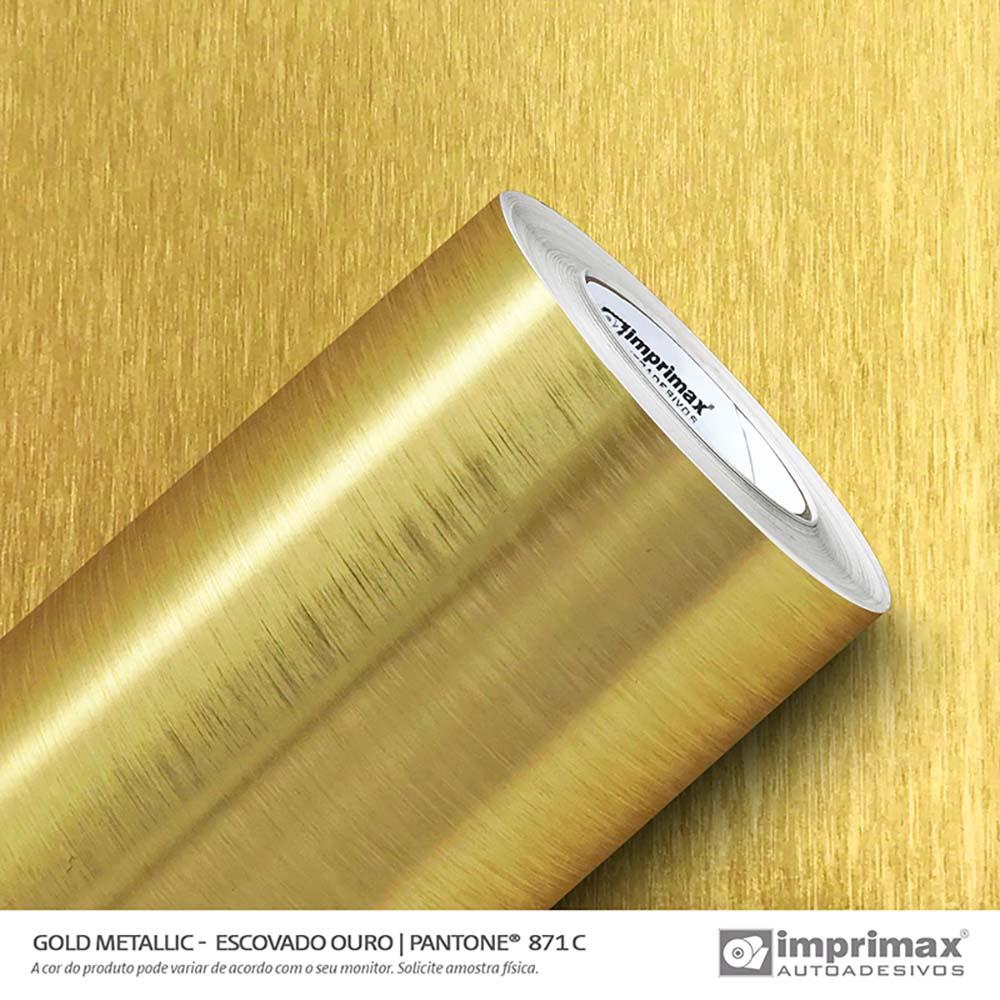Vinil Auto Adesivo Gold Metallic Escovado Ouro 1,22x25m