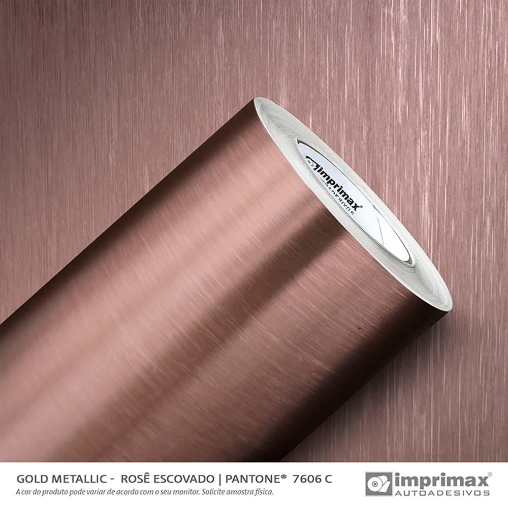 Vinil Auto Adesivo Gold Metallic Escovado Rosé 1,22x25m