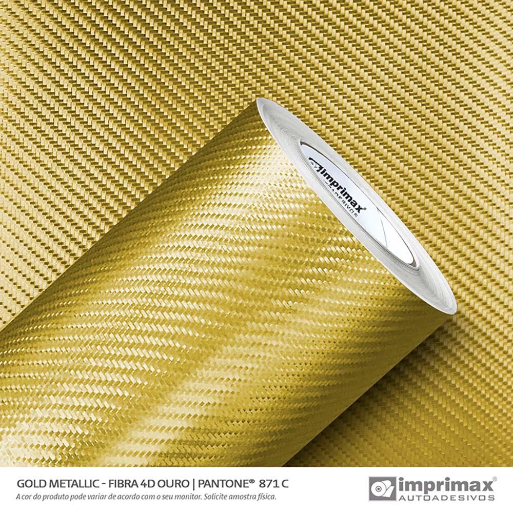 Vinil Auto Adesivo Gold Metallic Fibra 4D Ouro 1,22x25m