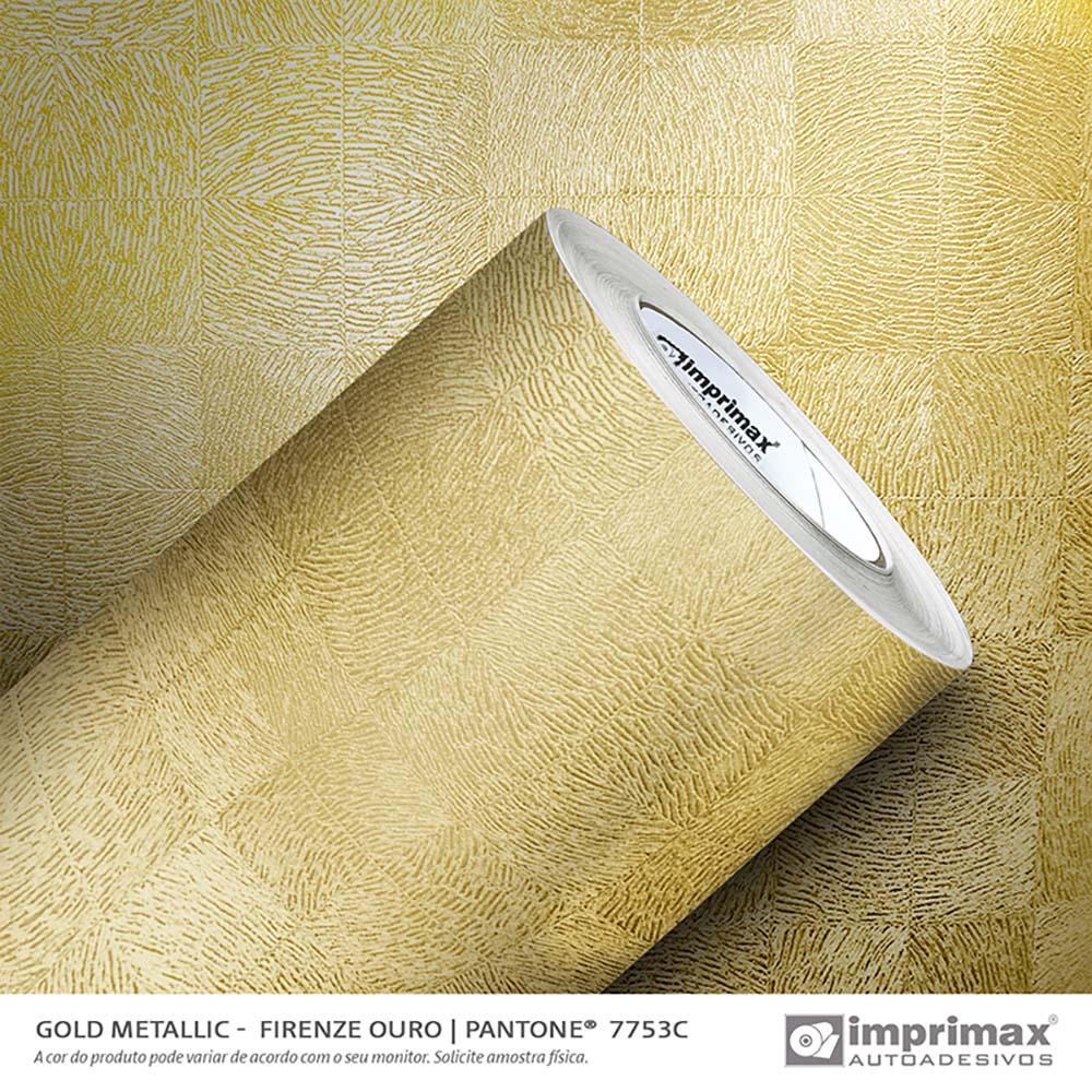 Vinil Auto Adesivo Gold Metallic Firenze Ouro 1,22x25m