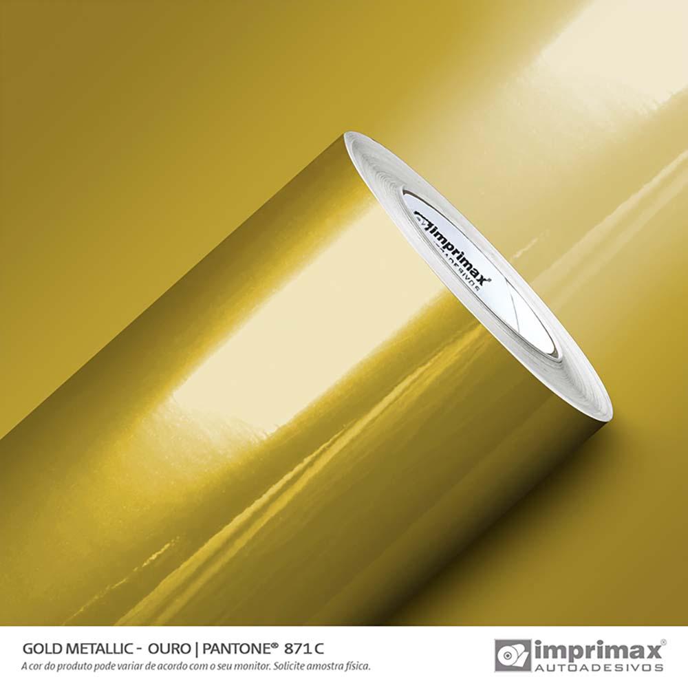 Vinil Auto Adesivo Gold Metallic Ouro Liso 1,22x25m