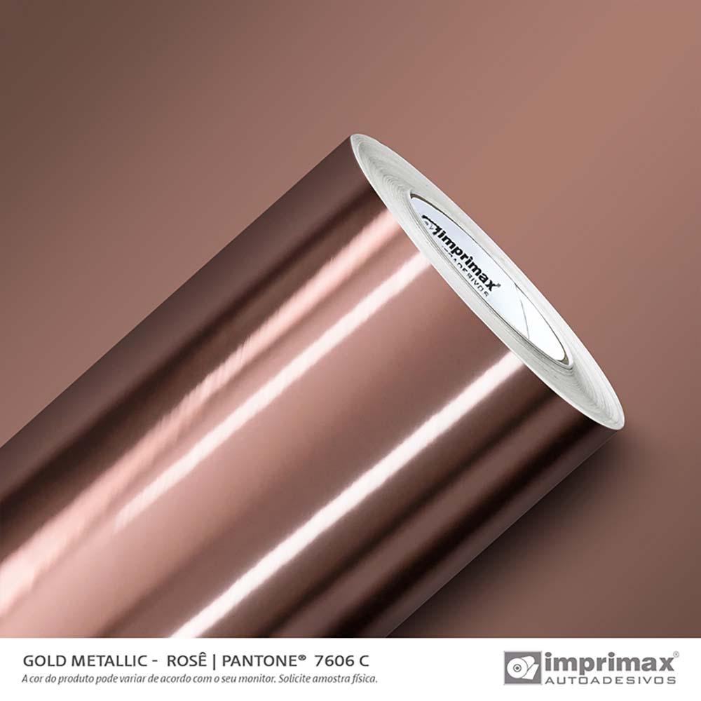 Vinil Auto Adesivo Gold Metallic Rosé Liso 1,22x25m