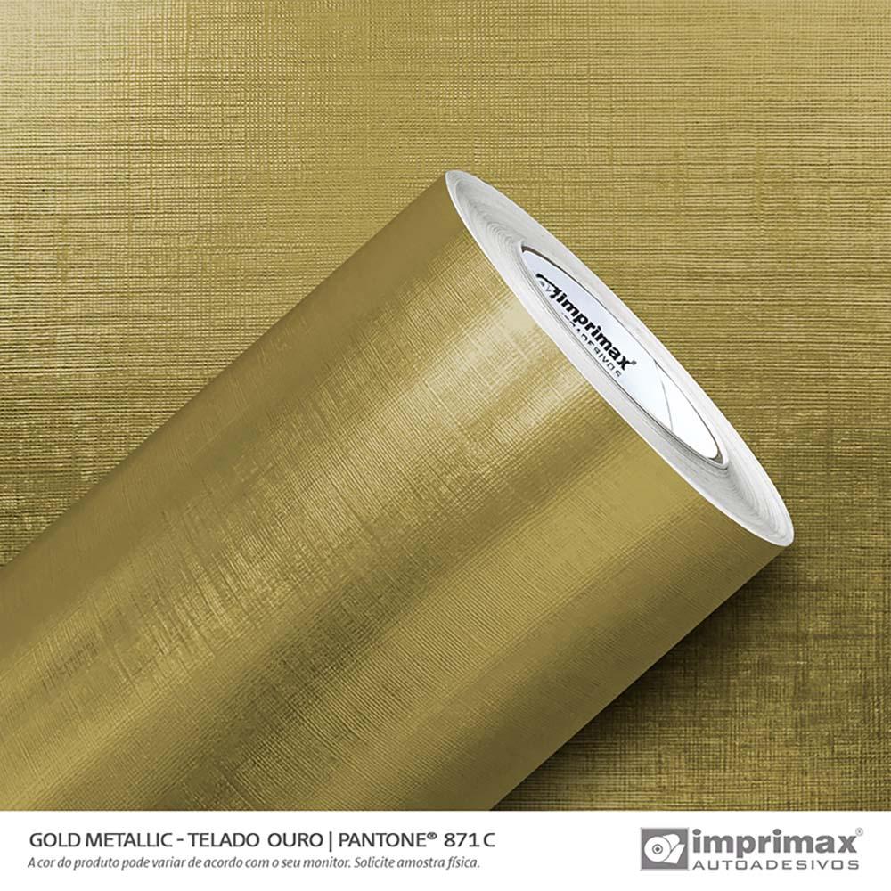 Vinil Auto Adesivo Gold Metallic Telado Ouro 1,22x25m