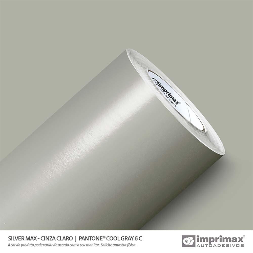 Vinil Auto Adesivo Silver Max Cinza Claro Brilho 1,22x50m