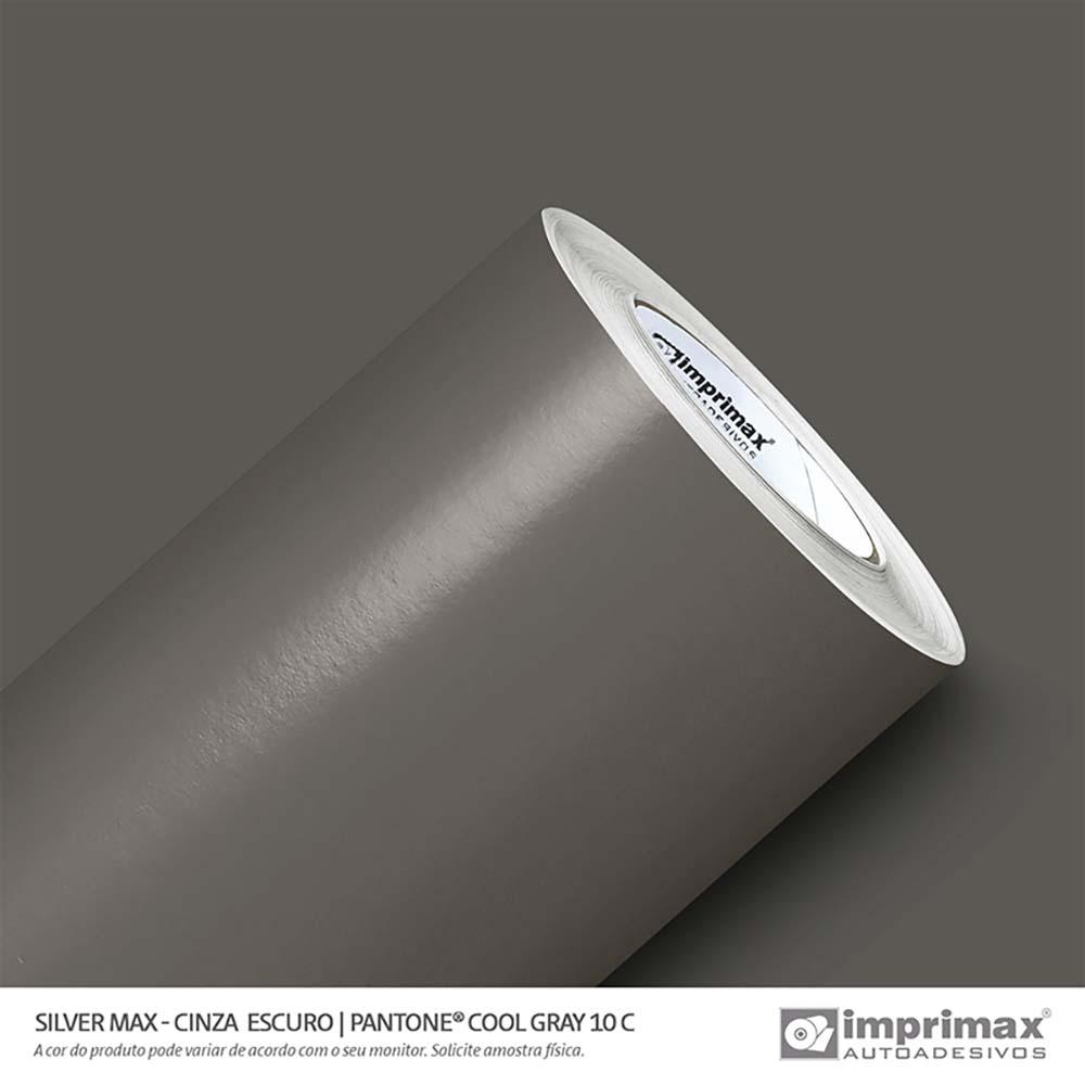Vinil Auto Adesivo Silver Max Cinza Escuro Brilho 1,22x50m