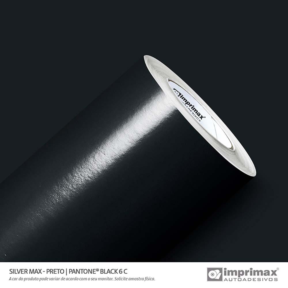 Vinil Auto Adesivo Silver Max Preto Brilho 1,22x50m