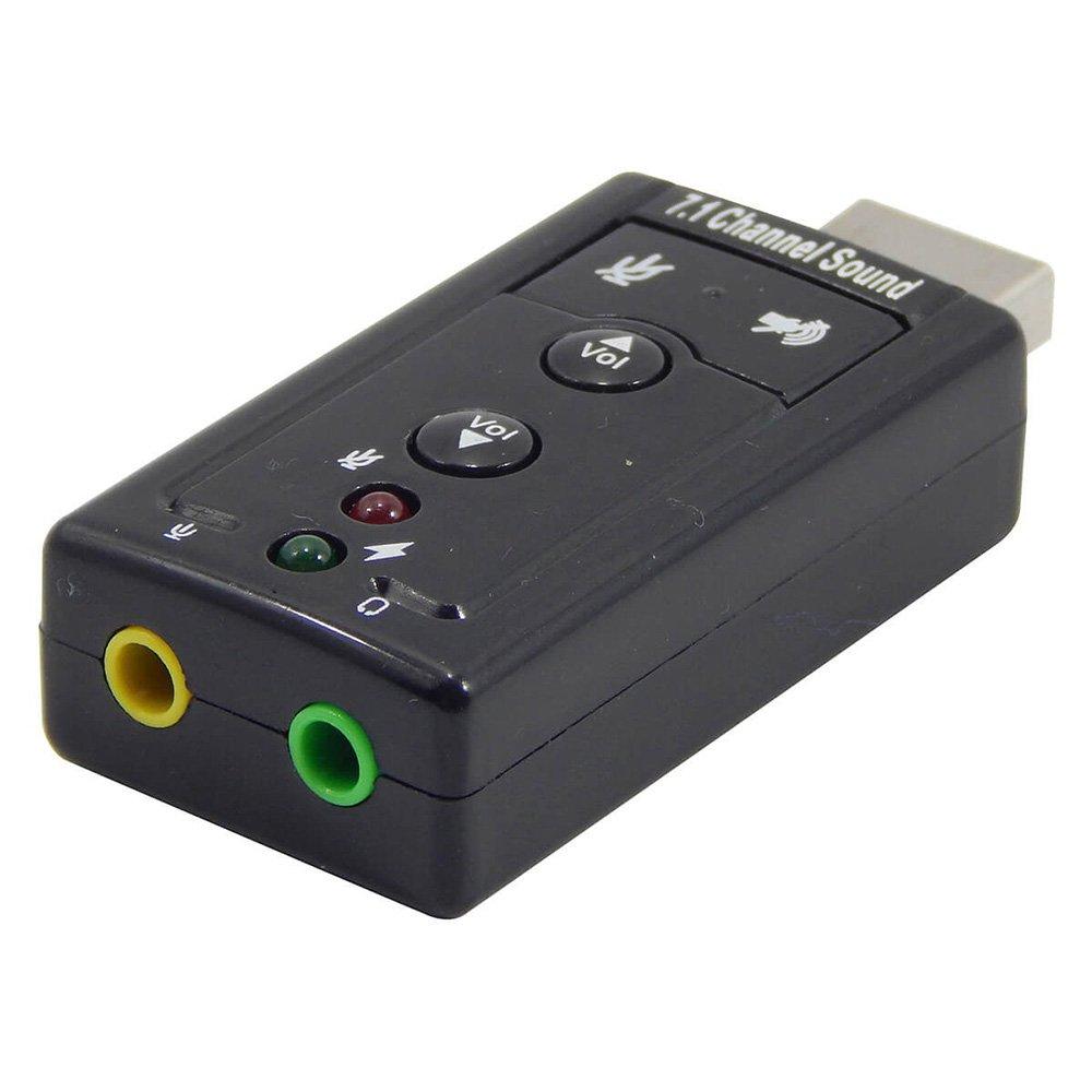 Adaptador de Áudio USB Placa De Som 7.1 Entrada P2 Fone E Microfone