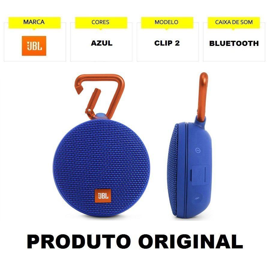 Caixa de Som JBL Clip 2 IPX7 à Prova d'água Portátil Bluetooth Azul