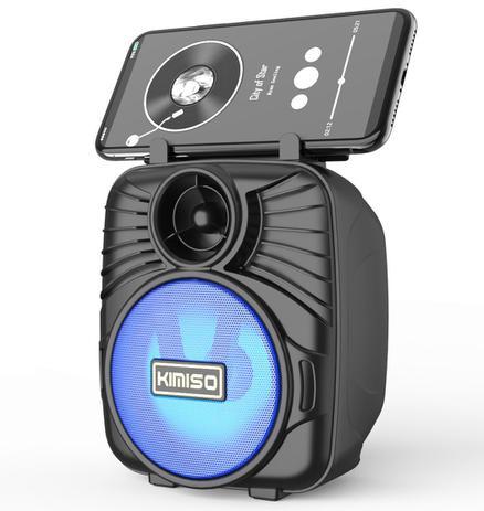 Caixa de som portátil Kimiso kms-1183 azul com suporte pra celular e led colorido, bluetooth, cartão, pendrive e fm