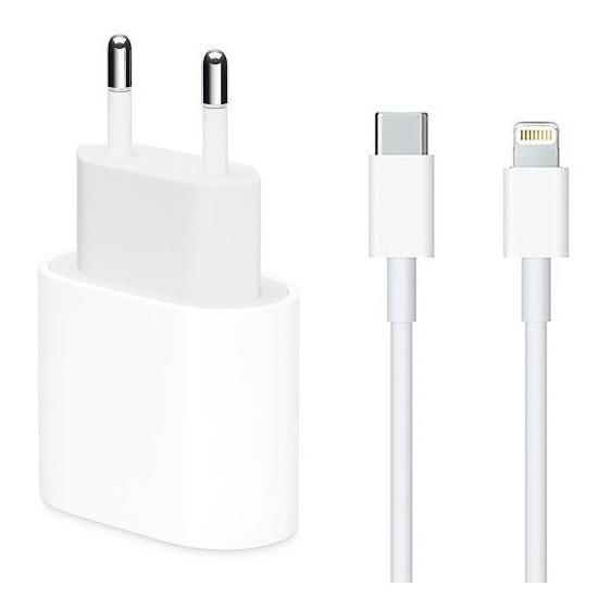 Carregador completo iphone X, 11 e 12 Fonte USB-C 18W + Cabo USB-C Lightning de 1M