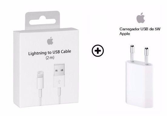 Carregador Apple iPhone Completo + Cabo Lightning 2 metros Iphone 5, 6, 7, 8 e Iphone X - MD819ZM/A