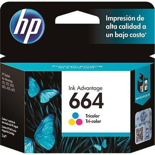 Cartucho de Tinta HP 664 Colorido Tricolor F6V28AB