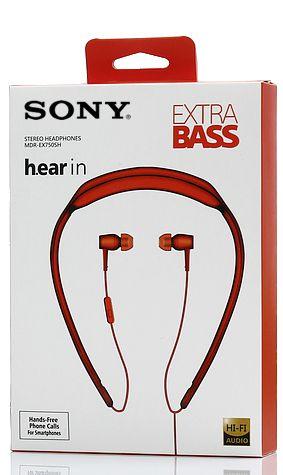Fone de Ouvido Estéreo h.ear in MDR-EX750SH com Extra Bass Vermelho SONY
