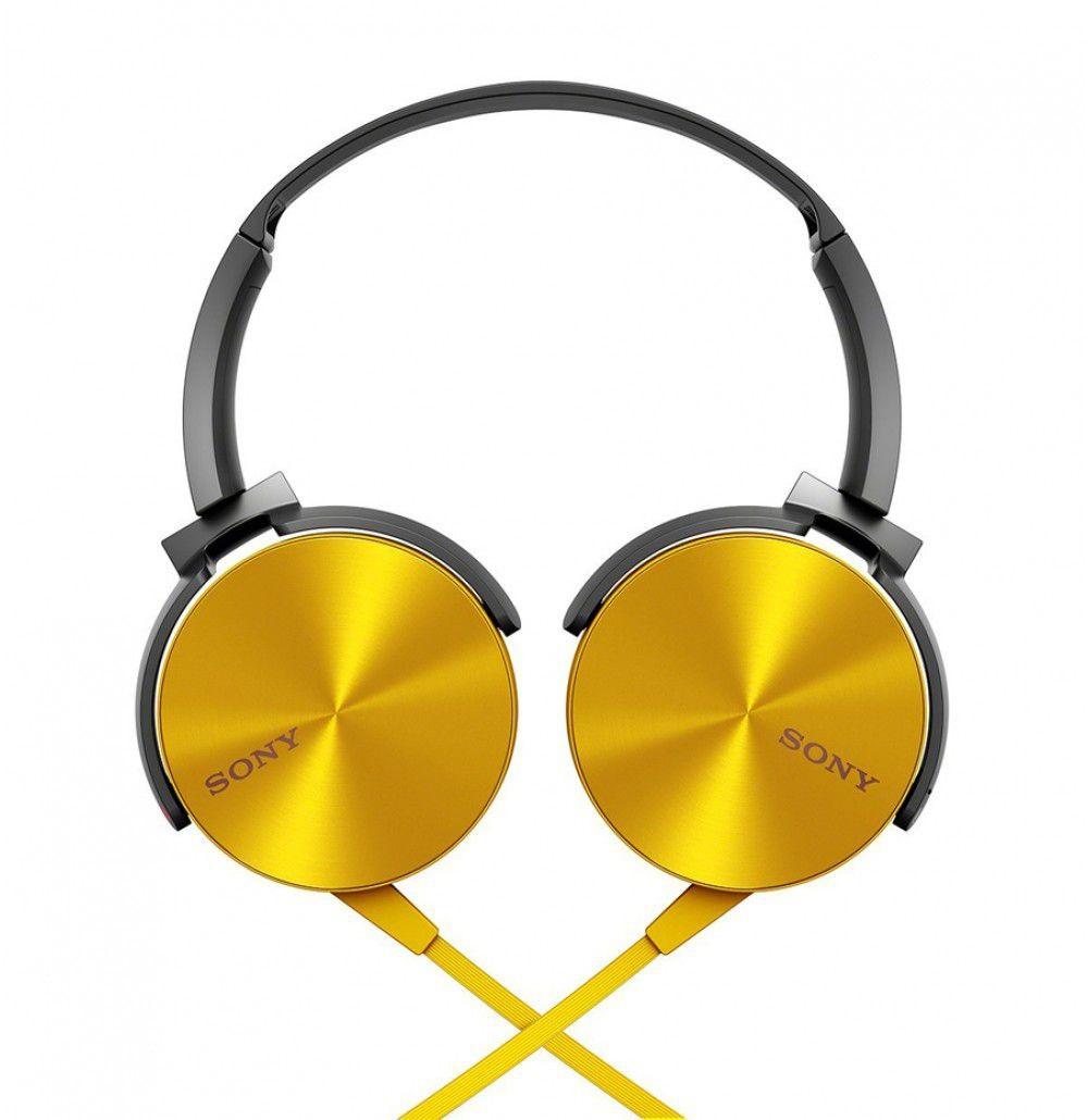 Fone de Ouvido Headphone Sony MDR-XB450AP Com EXTRA BASS Dourado