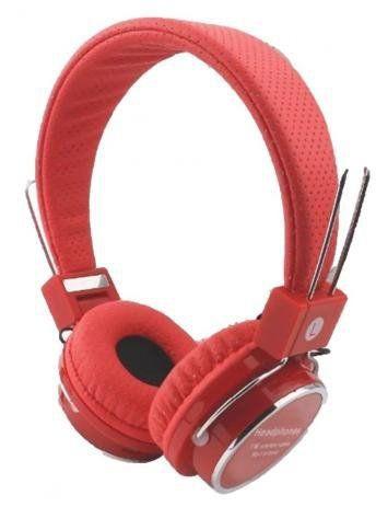 Headphone B-05 Átomo Fone De Ouvido Wireless Bluetooth Cartão micro SD e rádio FM - Vermelho