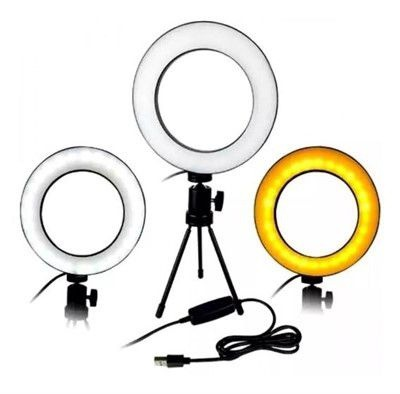 Iluminador Led Ring Fill Light Médio de Mesa 16cm AL-D002 com 3 tipos de iluminação + Mini Tripé de 12cm AL-D003